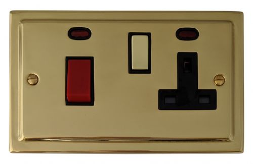 G&H TB329 Trimline Plate Polished Brass 45 Amp DP Cooker Switch & 13A Switched Socket